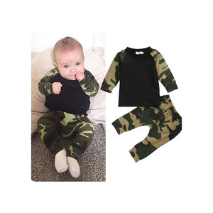 Newborn Kids Camouflage Set Baby Boys Long Sleeve T-shirt Tops Long Pants Autumn Spring Outfit Set - Buy Babby
