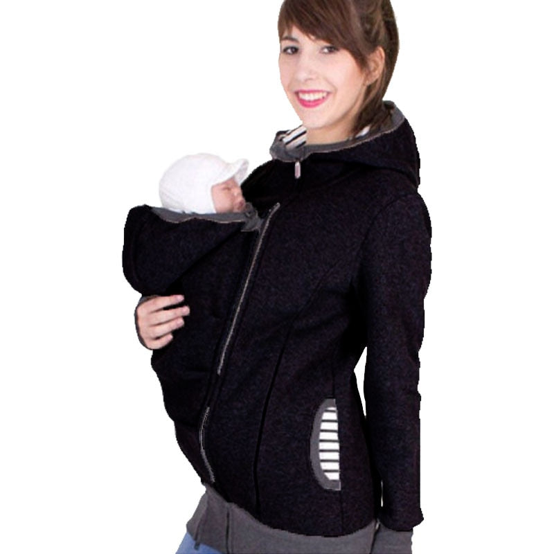 Women Maternity Striped Baby Pouch Carrier Hoodie Kangaroo Zipper Pregnancy Coat - Buy Babby