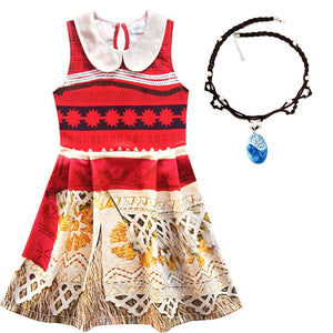 Moana Cosplay Costume for Kids Vaiana Princess Dress Clothes with Necklace for Halloween Costumes - Buy Babby