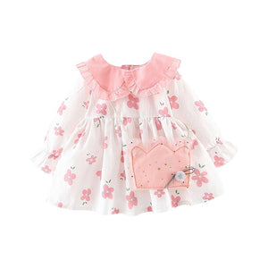 New Spring Baby Girl Clothes Fashion New Long-sleeved Cotton Girl Dress Lovely Flower Print Girl Dress - Buy Babby