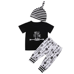 New to the Tribe Short sleeve T shirt,arrows Pant with Stripe Hat Set - Buy Babby