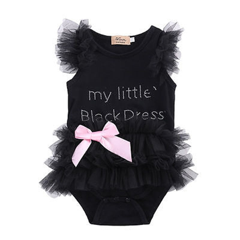 New Cute Kids Newborn Infant Baby Girls Bow Embroidered Little Black Dress - Buy Babby