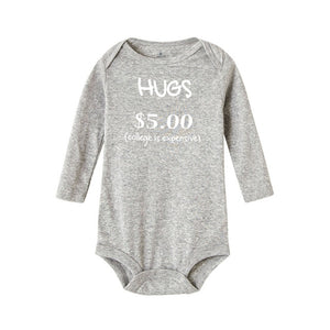 Toddler Infant Baby Boy Girl Letter Print Hugs $5 College Is Expensive Autumn Baby Romper - Buy Babby