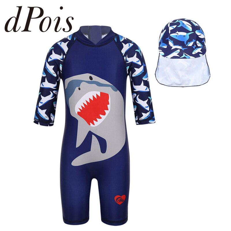 Kids Boys One-piece Shark Pattern Printed Zipper Rash Guard Swimsuit Swimwear Bathing Suit with Swimming Cap
