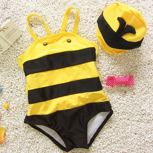 Little Bee One-piece Swimwear Toddler Kids Baby Sleeveless Cartoon Beach Swimwear - Buy Babby