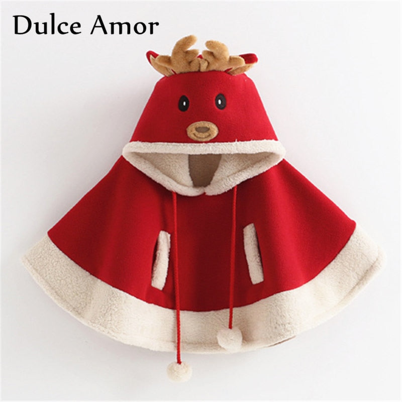 Girls Christmas Cloak Children Winter Coat Christmas Deer Hooded Outerwear - Buy Babby