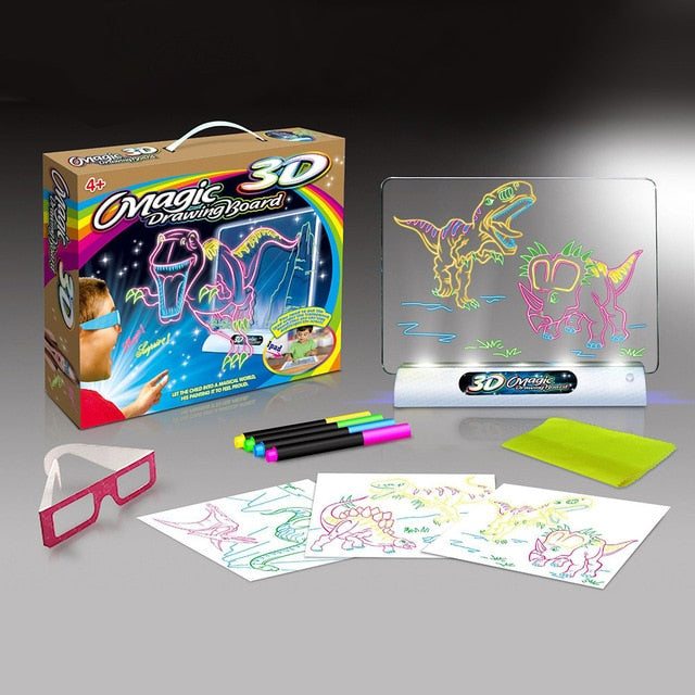 Creative Education 3D Effect Magic Drawing Board with Sea Dinosaurs Space Effect Pen Glasses - Buy Babby