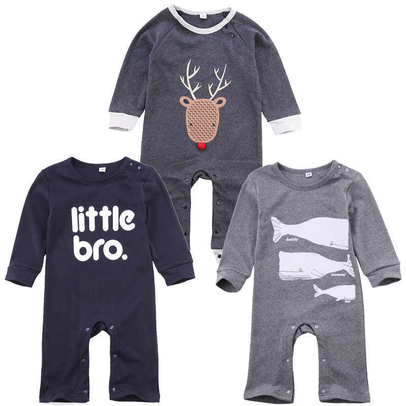Newborn Baby Boys Clothes Infant Toddler Kids Little Bro Long Sleeve Cotton Romper - Buy Babby