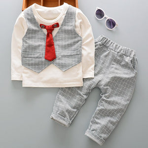 Kids Baby Boy Gentlemen Clothing Outfits Toddler Boys Wedding Party Suits Fake Two Piece Pullover Cotton Sets - Buy Babby