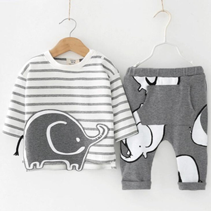 Baby Boy Summer Brand Infant Clothing Elephant Short Sleeved T-shirts Tops Striped Pants Kids Jogging Suits - Buy Babby