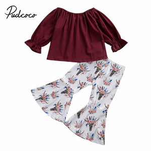 pudcoco 1-6T Toddler Kids Baby Girls Clothes Sets Long Sleeve Tops Flare Pants Leggings Outfits Set Spring Autumn Clothing - Buy Babby