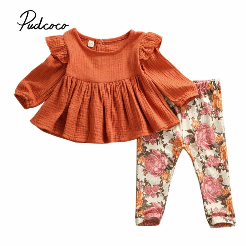 pudcoco 2019 Autumn WInter Cute Princess Infant Baby Girls Clothes 2PCS Fly Long Sleeve Pullover T-shirt Tops+Flower Long Pants