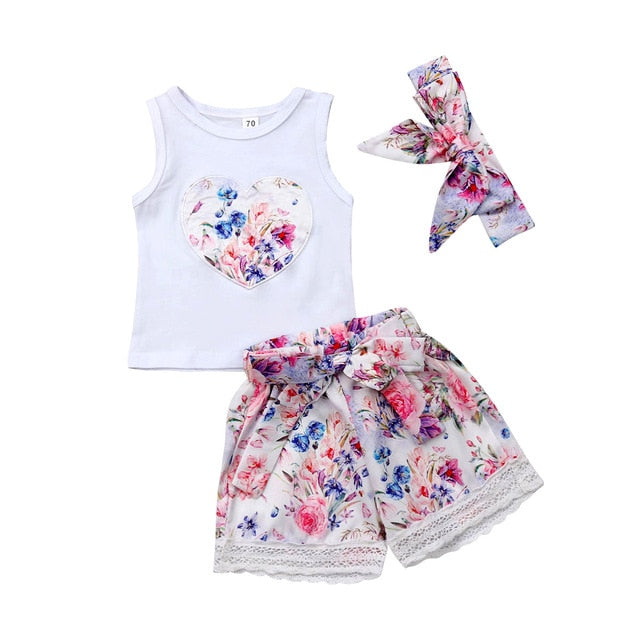pudcoco 2019 Baby Girl Clothes Newborn For Female Outfit Infant Clothing Set Heart Print Tank Tops + Lace Shorts+ Headband 3pcs - Buy Babby