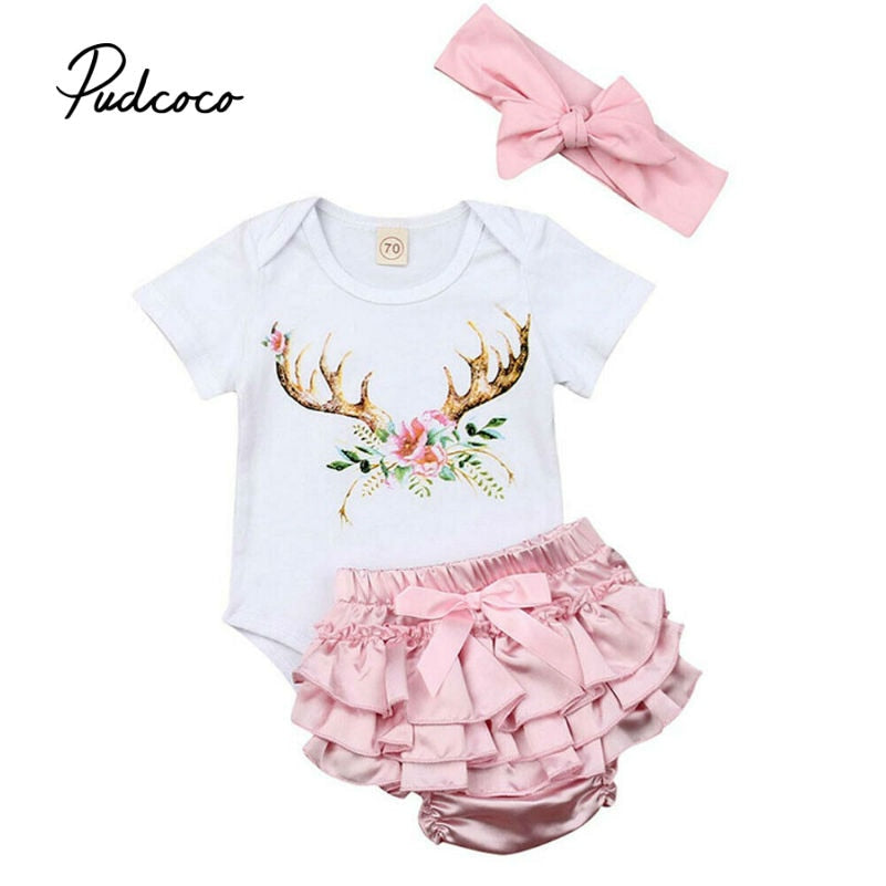 pudcoco 2019 Baby's Sets baby girl clothes Short Sleeve Print Romper+Shorts+Bow Headband newborn baby girl clothes Drop ship - Buy Babby