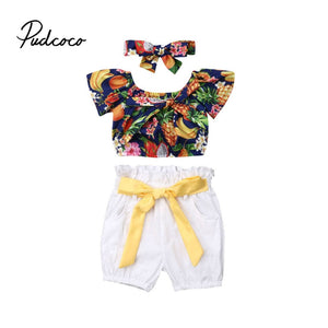 pudcoco 2019 Children Clothing Suits For Girls Clothes Kids Toddler Enfant Fille Infantis Outfits 3Pcs T-shirt+ Shorts+ Headband - Buy Babby