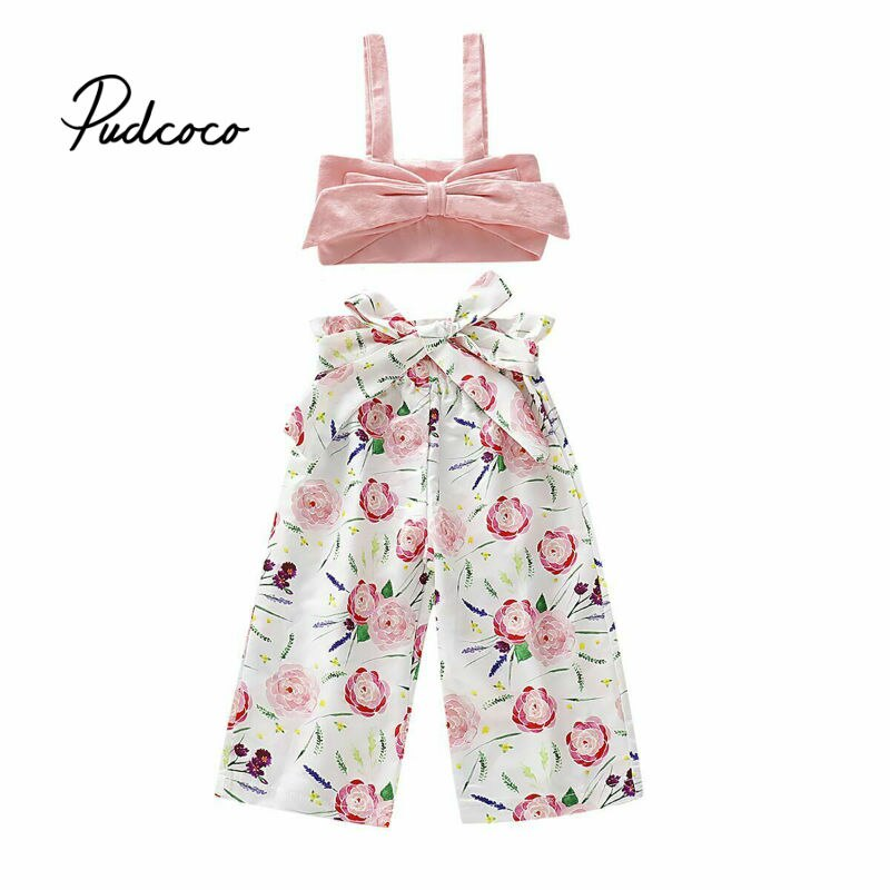 2019 Children Clothing Suits For Girls Clothes Kids Toddler Enfant Fille Infantis Outfits Crop Tops + Floral Pants - Buy Babby