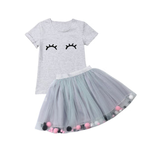 pudcoco 2019 Children Clothing Suits For Girls Clothes Kids Toddler Enfant Fille Infantis Outfits Eyelash Print T-shirt + Skirts - Buy Babby
