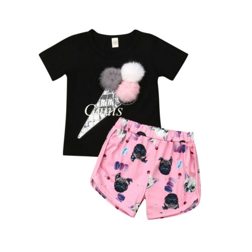 pudcoco 2019 Children Clothing Suits For Girls Clothes Kids Toddler Enfant Fille Infantis Outfits Ice cream Print T-shirt+Shorts - Buy Babby