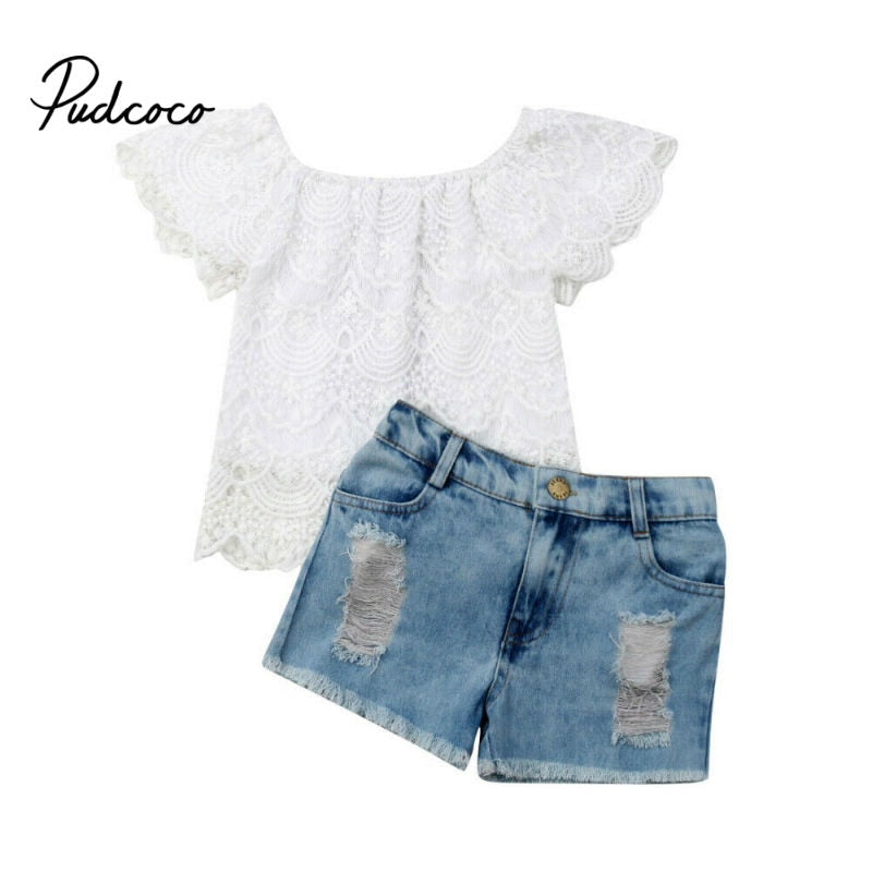 pudcoco 2019 Fashion Toddler Kids Baby Girls Clothing Double layer Lace Short Sleeve Tops +Denim Shorts 2Pcs Sets Clothes 1-6Y - Buy Babby
