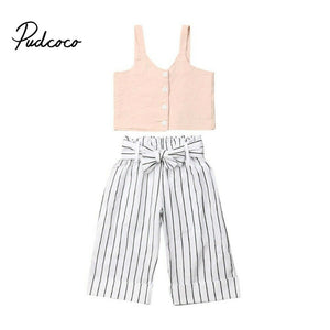 pudcoco 2019 Kids Baby Girls Clothes Sets Summer 2Pcs Sleeveless Sling Vest+Striped Pants Children Girl Sets 1-6 Years - Buy Babby