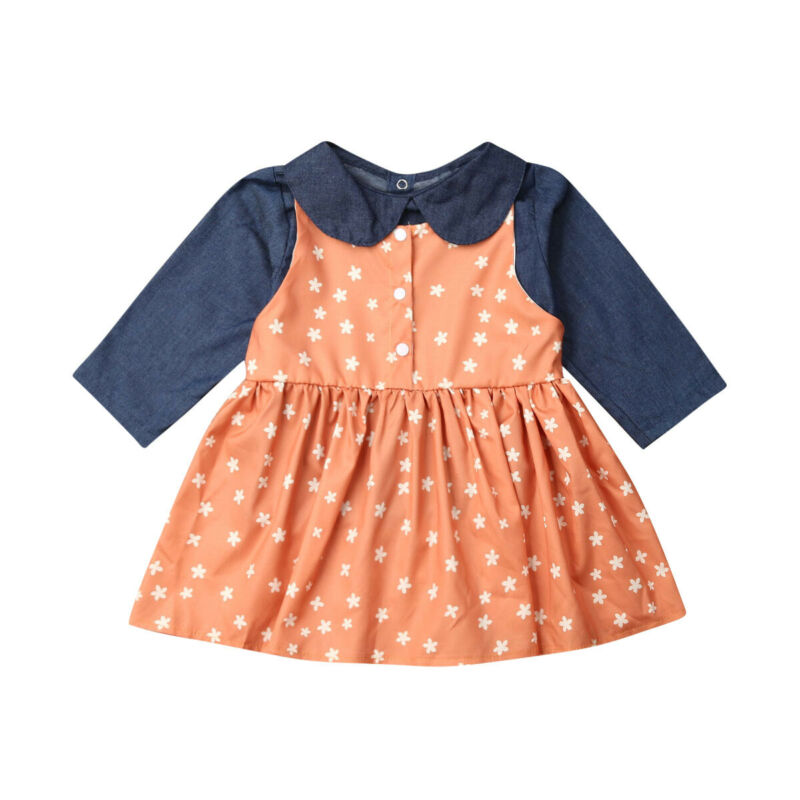 pudcoco 2019 New Baby Girls Clothing Sets Kids Girls Sport Suit Dot Denim Tops+Dress Spring Autumn Clothes Children Casual Set - Buy Babby