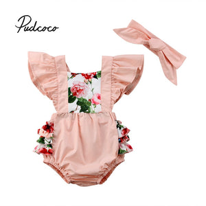 pudcoco 2020 2Pcs Newborn Baby Girls Floral Cotton Bodysuit Infant Baby Fly Sleeve Jumpsuit Summer Thin Bodysuits Girl Outfit - Buy Babby