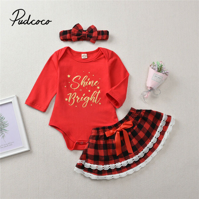 pudcoco 2020 Fashion Toddler Kids Baby Girl Letter Bodysuits Tops+Plaid Tutu Skirts+Bow Headband Christmas Clothes Set For Xmas - Buy Babby