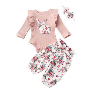 pudcoco 2020 New 3Pcs Baby Girls Flying sleeves Rabbit Folding Striped Bodysuit + floral lace-up pants + headwear Toddler Set - Buy Babby