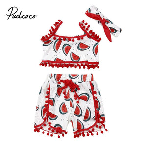pudcoco 2020 New Summer Kids Baby Girl Rompers Outfit Watermelon Printed Sleeveless Romper Jumpsuit Headband Clothes Set Cotton - Buy Babby