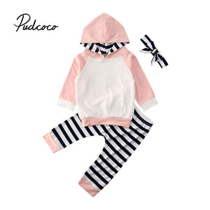 pudcoco 2020 Newborn Baby Boys Girls Hooded Sweatshirt Pants Striped Headband Long Sleeve hoodie Infant kids Fall clothes 3Pcs - Buy Babby