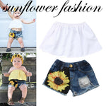 pudcoco 2Pcs Newborn Infant Baby Girl clothes set Off Shoulder Tops +sunflower Denim Short Pants outfit clothes set - Buy Babby