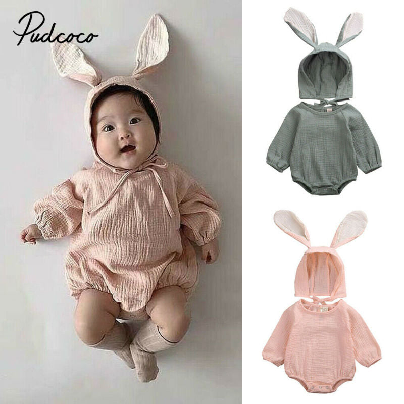 pudcoco 3D Rabbit Hat Baby Bodysuit Cotton Linen Autumn 2Pcs Long Sleeve Girl Boy Clothes Cute Jumpsuit Baby Clothing 0-24 Month - Buy Babby