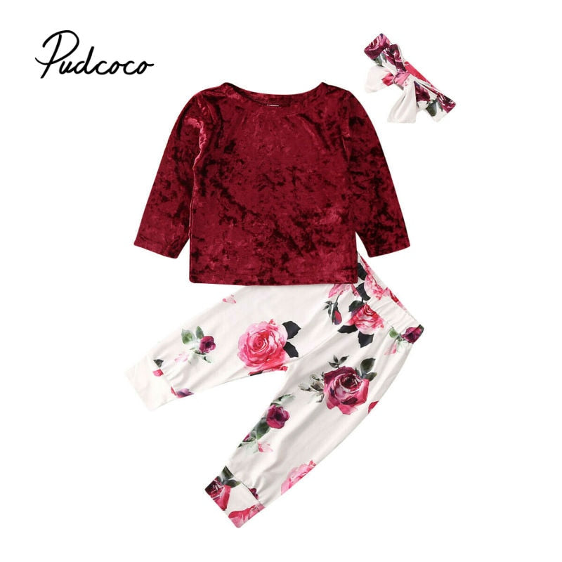 pudcoco 6M-3Y Toddler Kids Baby Girls Clothes Sets Velvet Tops Long Pants Headband Floral Leggings Outfits Set Spring Clothing - Buy Babby