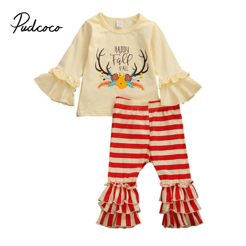 pudcoco 6M-5T Toddler Kids Baby Girls Clothes Sets Flare Sleeve Tops Red Striped Pants Leggings Outfits Set Spring Clothing - Buy Babby