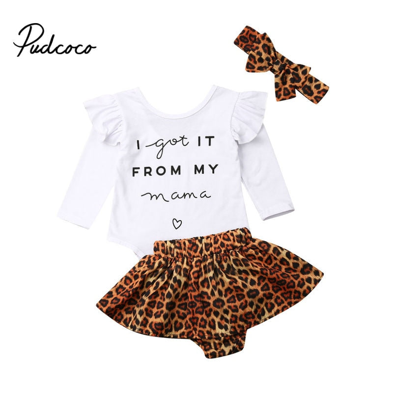 pudcoco Baby Girls Clothes Set 2020 Spring Autumn Newborn Clothing Leopard Print Rompers Headband Shorts Skirt 3PCS Outfits Set - Buy Babby