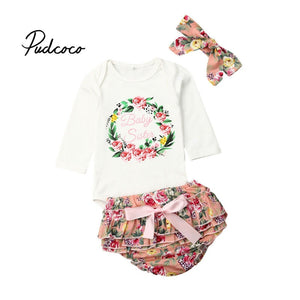 pudcoco Fashion Newborn Baby Girls Outfit Floral Letter Clothes Tops Tutu Flower Jumpsuit Bodysuit+cupcake Shorts Chirstmas Set - Buy Babby