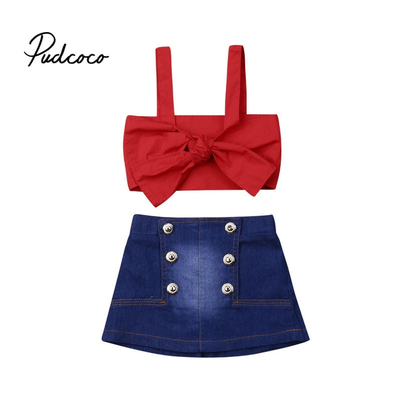 pudcoco Girls Suits 2020 Summer Style Kids Sleeveless Children Strap Crop Tops Clothing Denim Skirts Suit 2Pcs Clothes 6M-5Years - Buy Babby