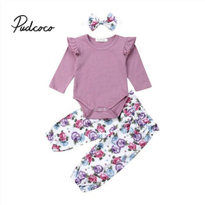 pudcoco Kid Casual Clothing Set Cotton 3Pcs Baby Toddler Girls Kids Floral Pants +Headband+knitted Bodysuit Clothes Outfits - Buy Babby