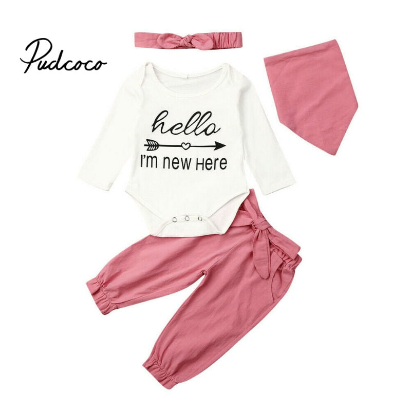 pudcoco Newborn Baby Girl Clothes Infant Baby Girl Sets Letter Romper+Bow-knot Pants+Hairband+Baby Bibs Baby Girl Outfits 4Pcs - Buy Babby