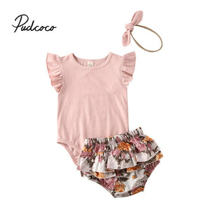 pudcoco Newborn Infant Baby Girl Clothes Pink Tops Bodysuits Ruffles Short Pants Clothes Set Casual Cotton kids clothes girls - Buy Babby