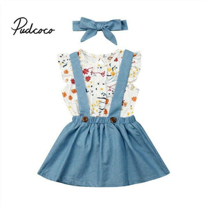 pudcoco Newest Newborn Baby Girl Clothes Short Sleeve casual T-shirt+Skirt Overalls+Headwear Dresses Headband Outfits Sets 6M-4Y - Buy Babby