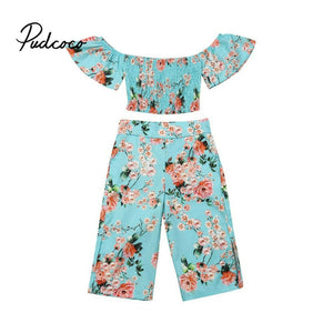 pudcoco Toddler Infant Summer Baby Girls Clothes Folding Crop Tops +Floral Pants Outfits Clothes Set 2019 Drop Shipping - Buy Babby