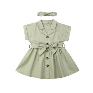 pudcoco Toddler Kid Baby Girl Clothes Sets Solid Short Sleeve Dress+Headband Summer Outfits Set 2-7Y Beige Green - Buy Babby