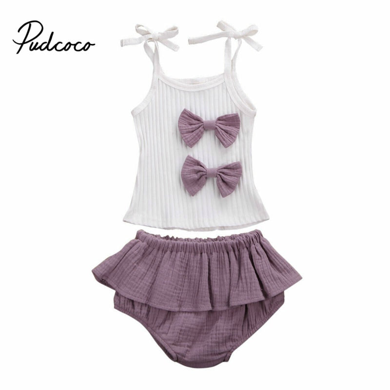 pudcoco Two Bow-knot Desigin 0-24M Toddler Kids Baby Girls Clothes Sets Tops Shorts Striped Outfits Set Summer Spring Clothing - Buy Babby