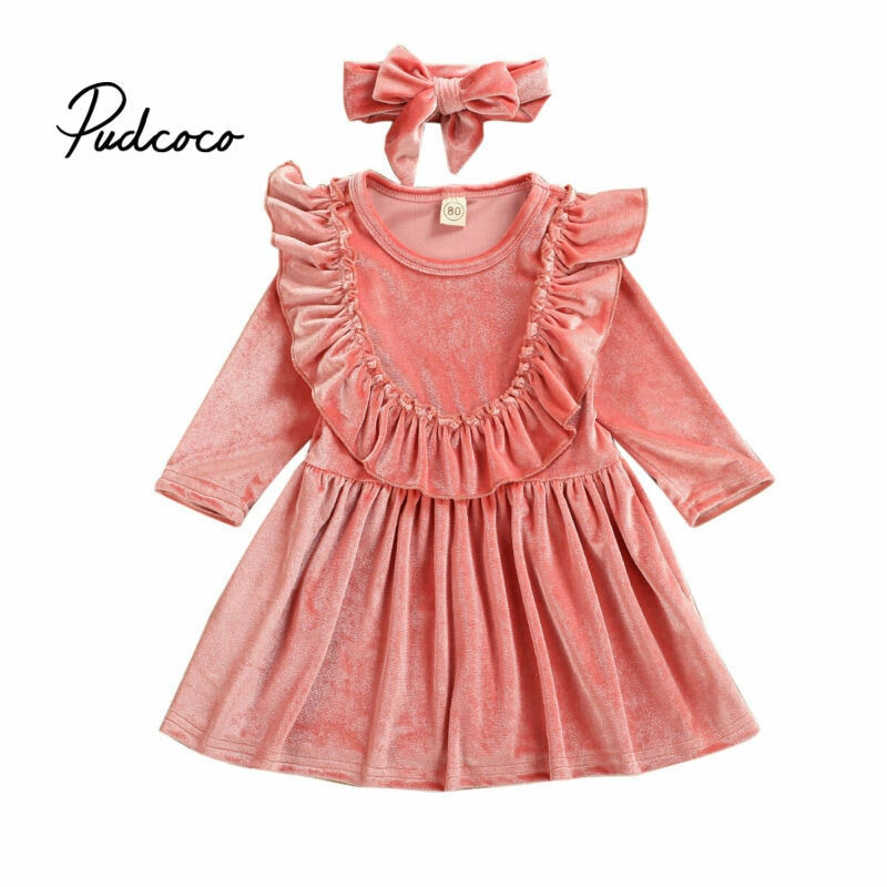 pudcoco Velvet Baby Girl Clothes Toddler Kids Dresses Headband Outfit Sets Tracksuit Long Sleeves Causal Princess Clothing 2pcs - Buy Babby