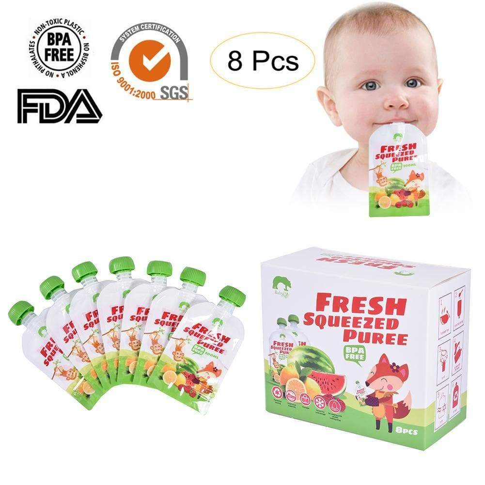 Reusable Fresh Food Pouches Animal Kids Storage Bag Breast Milk Bag Refillable Food Infant Double Zipper Feeding Bags - Buy Babby