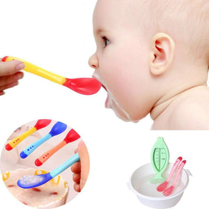 Silicone Baby Feeding Spoon Sensing Thermal Feeding Spoon Baby Kids Weaning Tableware - Buy Babby