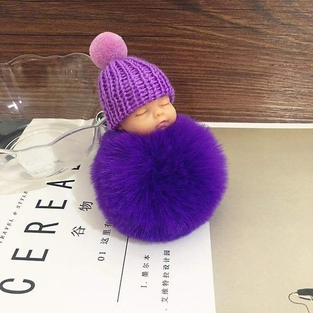 Sleeping Baby Doll Keychains Fluffy Faux Fur Ball Car Keyring Baby Toy Key Ring Bag Pendant Jewelry - Buy Babby