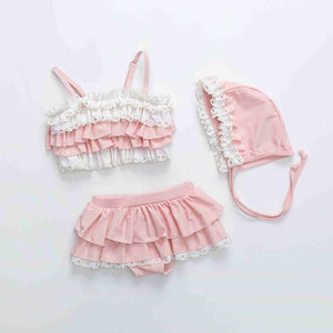 Pink Sleeveless Ruffle Two Pieces Children Swimwear Bikini Set - Buy Babby