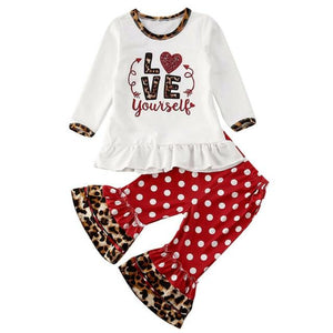 Toddler Baby Kids Girl Valentine Day Clothes Love Printed Tutu Tops Dot Polka Flare Baby Girl Leopard Pants Outfits Set - Buy Babby